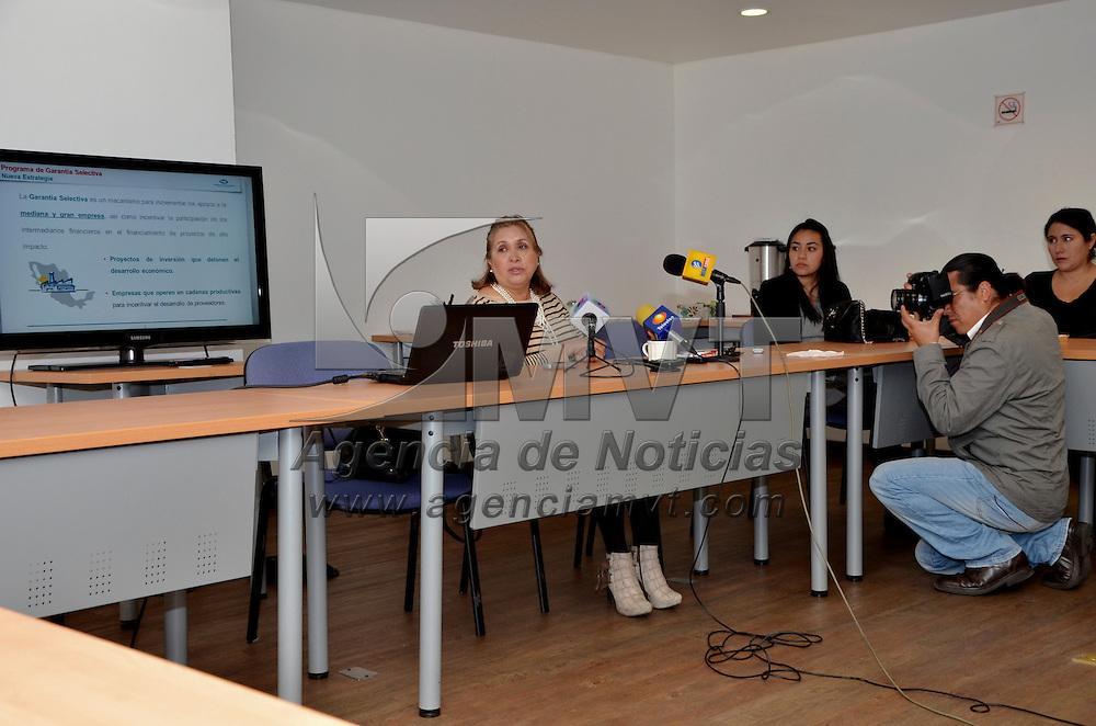 Toluca, México.- María de Lourdes Medina Ortega, presidenta de la Cámara Nacional de la Industria de Transformación (CANACINTRA) en el Estado de México, en conferencia de prensa informó que el programa de Garantía Selectiva de NAFINSA impulsará el crédito a las empresas afiliadas a esta organización. Agencia MVT / José Hernández