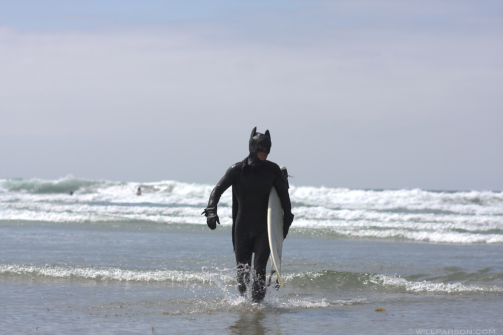 Batman returns from catching some waves during the Surf Dog Surf-a-thon.  Batman was really Andy Hutchison.