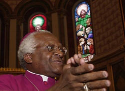 The Most Reverend Desmond Tutu begins his first day of work as Visiting Professor in Post-Conflict Societies for the 2004 spring term at King's College London in central London, where he will teach and later today preach inside the university's chapel at the Beginning of Term Service. This will be the first time that the former Archbishop of Cape Town has held a post at a British university, though it was at King's where he studied for his Master of Theology during the 1960's. Desmond Tutu was honoured with the Nobel Peace Prize in 1984 for his work as General Secretary of the South African Council of Churches after working tirelessly against apartheid.