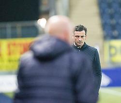 Falkirk's manager Peter Houston  and St Mirren's manager Jack Ross at the end. Falkirk 3 v 1 St Mirren, Scottish Championship game played 3/12/2016 at The Falkirk Stadium .