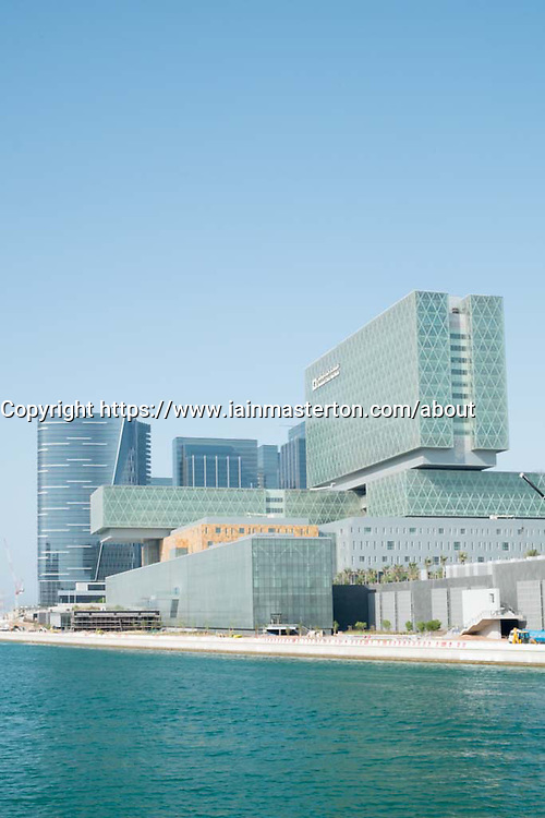 Exterior of new Cleveland Clinic hospital on Al Maryah Island the new Central Business District under construction in Abu Dhabi United Arab Emirates