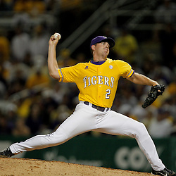 05 June 2009:  LSU pitcher Buzzy Haydel (2) throws in relief during game one of the NCAA baseball College World Series, Super Regional game between the Rice Owls and the LSU Tigers at Alex Box Stadium in Baton Rouge, Louisiana.