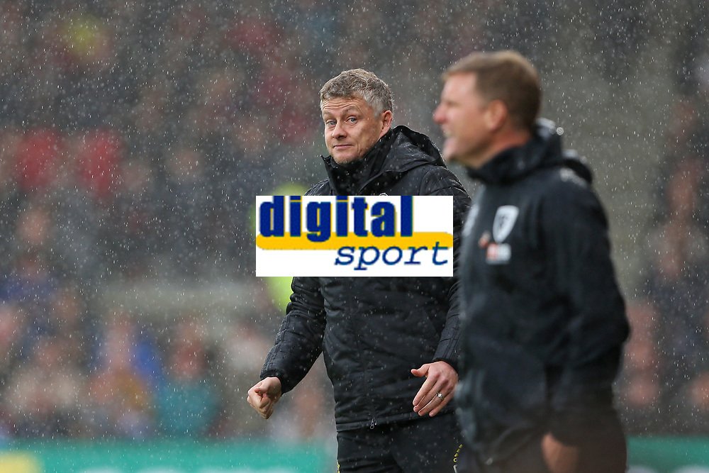 Football - 2019 / 2020 Premier League - AFC Bournemouth vs. Manchester United<br /> <br /> Manchester United Manager Ole Gunnar Solskjaer looks across at Bournemouth's Manager Eddie Howe during the Premier League match at the Vitality Stadium (Dean Court) Bournemouth  <br /> <br /> COLORSPORT/SHAUN BOGGUST