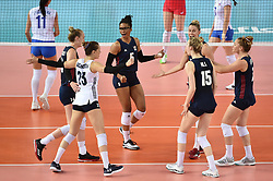 JIANGMEN, June 5, 2018  Players of the United States celebrate after scoring during the match against Russia at FIVB Volleyball Nations League 2018 in Jiangmen City, south China's Guangdong Province, June 5, 2018. Team USA won the match 3-0. (Credit Image: © Liang Xu/Xinhua via ZUMA Wire)