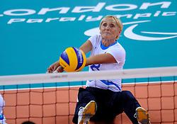 01-09-2012 ZITVOLLEYBAL: PARALYMPISCHE SPELEN 2012 USA - SLOVENIE: LONDEN.In ExCel South Arena wint USA van Slovenie / Danica GOSNAK.©2012-FotoHoogendoorn.nl.