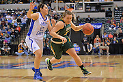 April 4, 2016; Indianapolis, Ind.; Jenna Buchanan drives past Kelsey Hoppel in the NCAA Division II Women's Basketball National Championship game at Bankers Life Fieldhouse between UAA and Lubbock Christian. The Seawolves lost to the Lady Chaps 78-73.