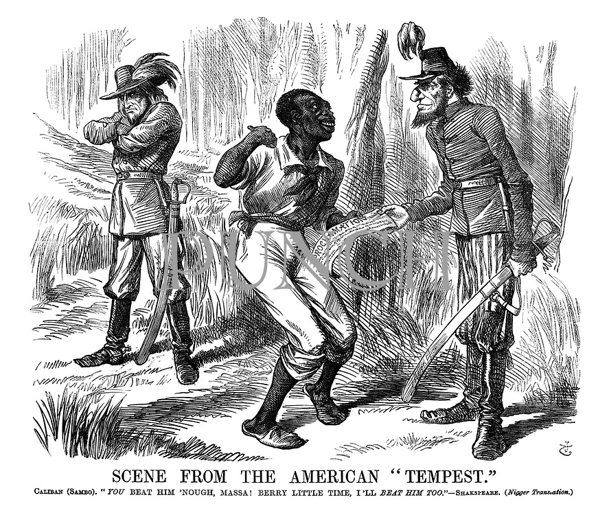 """Scene from the American """"Tempest."""" Caliban (Sambo). """"You Beat Him 'Nough, Massa! Berry Little Time, I'll Beat Him Too."""" - Shakespeare. (Nigger Translation.)"""