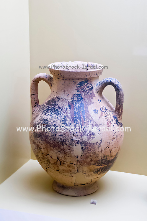 Greece, Athens, The Greek Agora museum in the Stoa of Attalos. Painted Amphora with a figure if a sphinx