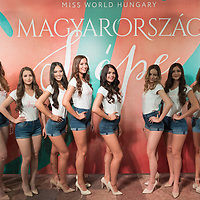 Finalists of the Miss World Hungary beauty pageant are introduced at a press conference in Budapest, Hungary on May 29, 2019. ATTILA VOLGYI