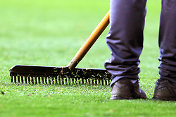 Detail image of the pitch at The King Power Stadium being raked - Mandatory by-line: Paul Roberts/JMP - 23/09/2017 - FOOTBALL - King Power Stadium - Leicester, England - Leicester City v Liverpool - Premier League
