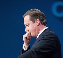Conservative Party Conference, ICC, Birmingham, Great Britain <br /> 10th October 2012 <br />  Day 4<br /> <br /> Rt Hon David Cameron MP <br /> Prime minister <br /> keynote speech <br /> <br /> <br /> <br /> Photograph by Elliott Franks<br /> <br /> United Kingdom<br /> Tel 07802 537 220 <br /> elliott@elliottfranks.com<br /> <br /> ©2012 Elliott Franks<br /> Agency space rates apply
