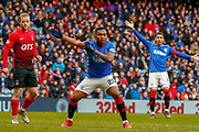 Alfredo Morelos & James Tavernier (C) appeal for a hand ball during the Ladbrokes Scottish Premiership match between Rangers and Kilmarnock at Ibrox, Glasgow, Scotland on 16 March 2019.