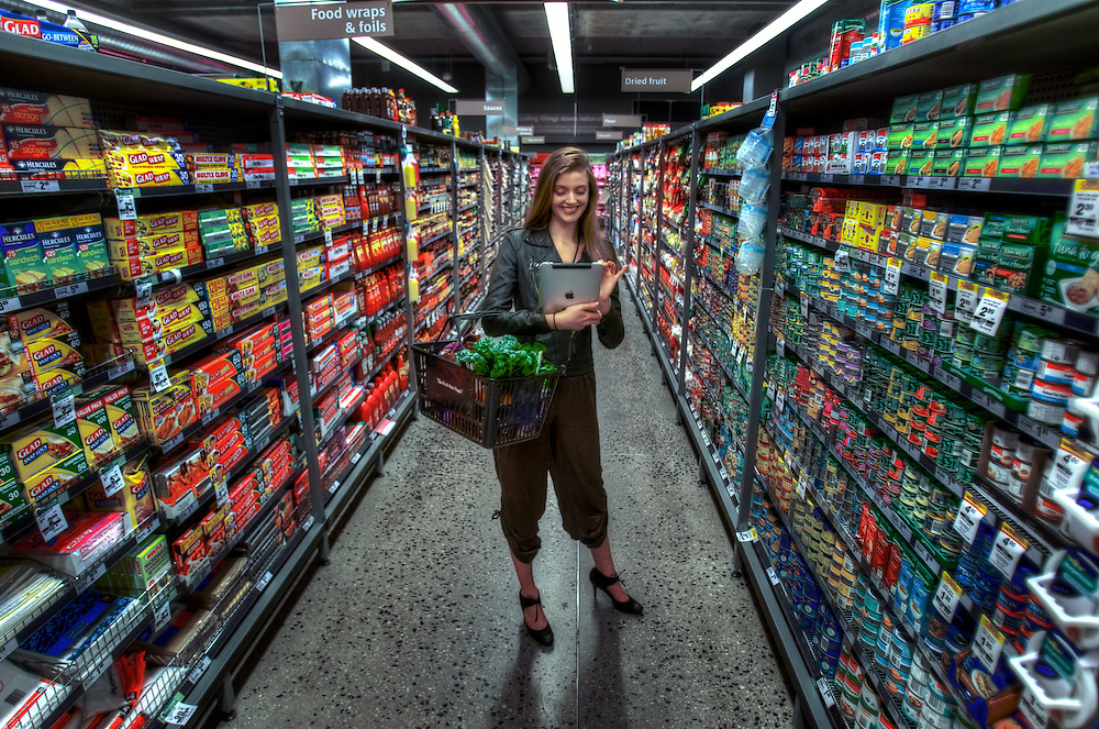 Safeway Supermarket - VICTORIA HARBOUR.  Model Erika Riebesell (Associated Models) M# 0434 128 818. Story on the future of shopping, how technology is changing shopping. Pic By Craig Sillitoe CSZ/The Sunday Age.24/6/2011 melbourne photographers, commercial photographers, industrial photographers, corporate photographer, architectural photographers, This photograph can be used for non commercial uses with attribution. Credit: Craig Sillitoe Photography / http://www.csillitoe.com<br /> <br /> It is protected under the Creative Commons Attribution-NonCommercial-ShareAlike 4.0 International License. To view a copy of this license, visit http://creativecommons.org/licenses/by-nc-sa/4.0/.