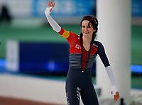 Skøyter , ISU World Cup Speed Skating, 31. januar 2016.  Martina Sablikova , Tsjekkia, etter målgang 3000 m som hun vant.