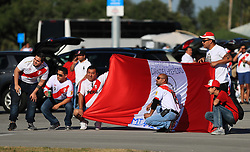 March 23, 2018 - Miami Gardens, Florida, USA - Peruvian fans pose for a photo outside of the stadium before the FIFA 2018 World Cup preparation match between the Peru National Soccer Team and the Croatia National Soccer Team at the Hard Rock Stadium in Miami Gardens, Florida. (Credit Image: © Mario Houben via ZUMA Wire)