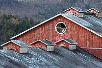 A weathered barn and cupalos in Cambridge Vermont