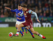 Marc Albrighton of Leicester City tackles Jack Grealish of Aston Villa during the Premier League match at the King Power Stadium, Leicester. Picture date: 9th March 2020. Picture credit should read: Darren Staples/Sportimage