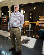 New Librarian Stephen Fitzgerald poses for a portrait in the auditorium of the Milpitas Library in Milpitas, California, on September 9, 2014. (Stan Olszewski/SOSKIphoto)