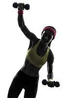 one strong happy woman exercising fitness workout in silhouette on white background