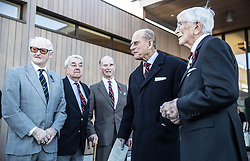 """The Duke of Edinburgh (2nd right) meets Surviving """"Guinea pig club"""" members after he unveiled a memorial to them at the National Memorial Arboretum, Staffordshire."""
