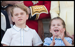 June 8, 2019 - London, London, United Kingdom - Image licensed to i-Images Picture Agency. 08/06/2019. London, United Kingdom. Prince George and Princess Charlotte  at Trooping the Colour in London. (Credit Image: © Stephen Lock/i-Images via ZUMA Press)