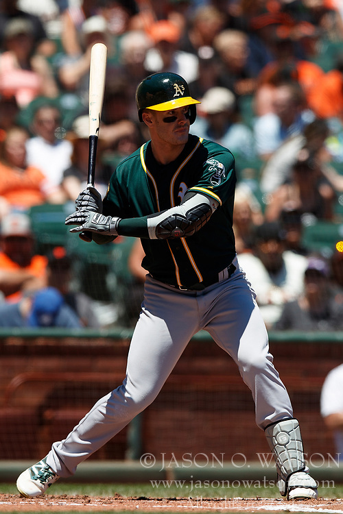 SAN FRANCISCO, CA - JULY 15: Mark Canha #20 of the Oakland Athletics at bat against the San Francisco Giants during the second inning at AT&T Park on July 15, 2018 in San Francisco, California. The Oakland Athletics defeated the San Francisco Giants 6-2. (Photo by Jason O. Watson/Getty Images) *** Local Caption *** Mark Canha