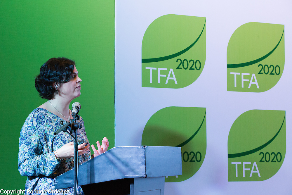 Sarah Price, Head of Projects and Development at the Programme for the Endorsement of Forest Certification (PEFC), presents during a knowledge exchange session on the landscape approach at the General Assembly of the Tropical Forest Alliance 2020 in Jakarta, Indonesia, on March 11, 2016. Her presentation focused on how to scale up certification solutions throughout the landscape. <br /> (Photo: Rodrigo Ordonez)