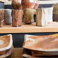 Ceramics made by the resident artists on display in the gallery portion of Clayspace. The Clayspace Co-op is a cooperative of professional ceramic artists located at the Wedge Studios at 119 Roberts Street in the River Arts District of Asheville, North Carolina.