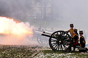 The King's Troop Royal Horse Artillary fired a total of 41 salutes to mark the reign of Queen Elizabeth II
