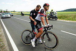 Andrej Hauptman helping Injured Matteo TRENTIN of UAE TEAM EMIRATES during 1st Stage of 27th Tour of Slovenia 2021 cycling race between Ptuj and Rogaska Slatina (151,5 km), on June 9, 2021 in Slovenia. Photo by Vid Ponikvar / Sportida