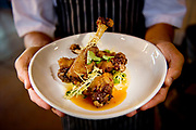 Crispy meyer lemon & honey duck wings prepared with chili and chives from Ironwood restaurant in Laguna Hills, CA.