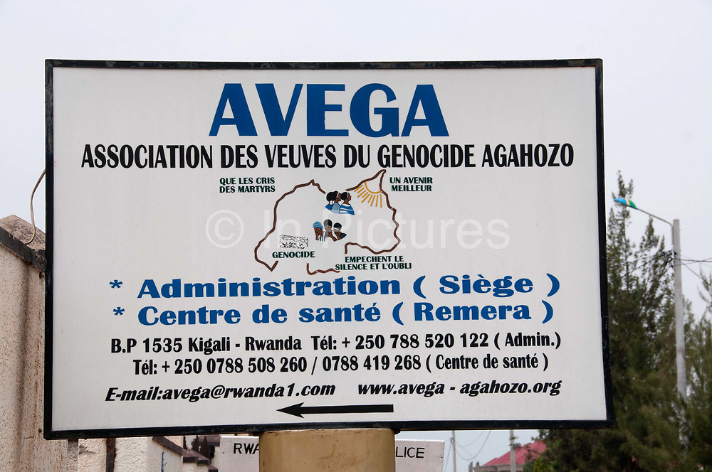 Rwanda February 2014. Signboard for AVEGA , an association of widows from the genocide who provide medical services and counselling