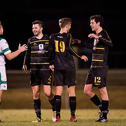BRISBANE, AUSTRALIA - AUGUST 26: Moreton Bay players celebrate during the NPL Queensland Senior Men's Semi Final match between Brisbane Strikers and Moreton Bay Jets at Perry Park on August 26, 2017 in Brisbane, Australia. (Photo by Patrick Kearney)