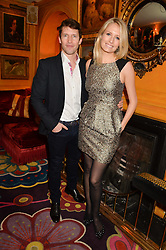 JAMES BLUNT and his wife SOFIA at the launch of GP Nutrition held at Annabel's, 44 Berkeley Square, London on 26th January 2016.