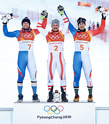 13.02.2018, Jeongseon Alpine Centre, Pyeongchang, KOR, PyeongChang 2018, Ski Alpin, Herren, Kombination, Siegerpräsentation, im Bild v.l. Alexis Pinturault (FRA, 2. Platz), Marcel Hirscher (AUT, 1. Platz), Victor Muffat-Jeandet (FRA, 3. Platz) // f.l. silver medalist Alexis Pinturault of France gold medalist and Olympic champion Marcel Hirscher of Austria bronce medalist Victor Muffat-Jeandet of France during the winner's presentation of Men's Alpine Combined of the Pyeongchang 2018 Winter Olympic Games at the Jeongseon Alpine Centre in Pyeongchang, South Korea on 2018/02/13. EXPA Pictures © 2018, PhotoCredit: EXPA/ Johann Groder