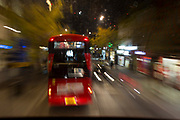 A blurred bus journey along the Walworth Road, on 6th November 2018, in London, England.