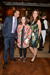 Left to right, DR AMIN JAFER, VIVIENNE BECKER and ALIONA ADRIANOVA at a party to celebrate the publication of Cartier's Panthere book at Maison Assouline, Picadilly, London on 7th September 2015