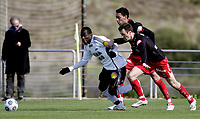 Fotball<br /> La Manga - Spania<br /> 05.02.2009<br /> Rosenborg v Fredrikstad1-0<br /> Foto: Morten Olsen, Digitalsport<br /> <br /> John Pelu - RBK<br /> Fernando Wallace og Agim Shabani - FFK