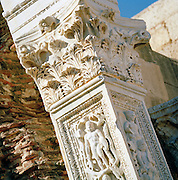 Detail of stone carvings at the ruined Roman city of Leptis Magna, Libya