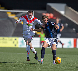 Airdrie's Dean Cairns and Raith Rovers Nathan Flanagan. half time : Airdrie 2 v 0 Raith Rovers, Scottish Football League Division One played 25/8/2018 at the Excelsior Stadium.