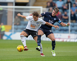 Ayr United's Laurence Shankland and Dundee's Josh Meekings. half time : Dundee 0 v 0 Ayr United, Scottish League Cup Second Round, played 18/8/2018 at the Kilmac Stadium at Dens Park, Scotland.
