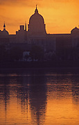 Pennsylvania capitol pre-dawn reflection, Susquehanna River,