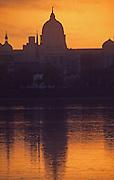 Pennsylvania capitol pre-dawn reflection, Susquehanna River,