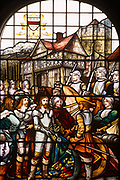A depiction of a local event during the English Civil War depicting local historical figures appearing in stained glass windows part of an auction held by Bonhams of the contents of Stokesay Castle, the oldest fortified estate house in Britain originating in the late 13th century. During King Charles I reign it came into the ownership of the Craven family and was used as a supply base for the King's forces in the area, based in strength at nearby Ludlow Castle in the early stages of the English Civil War. <br /> A skirmish took place at the castle during the English Civil War, in which Stokesay was handed over to the Parliamentarians after a short siege without a pitched battle. It is at present in the hands of English Heritage.