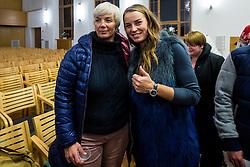 Tina Maze, overall skiing globe winner 2013 with Natasa Bokal during Introducing almanac at anniversaty for 40 years of skiing competition Pokal Loka in Sokolski dom, Skofja Loka, Slovenia on 9 December 2015. Photo By Grega Valancic / Sportida