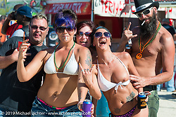 All the way from Indiana - having a good times at the Cabbage Patch in New Smyrna Beach during Daytona Bike Week. FL, USA. March 12, 2014.  Photography ©2014 Michael Lichter.