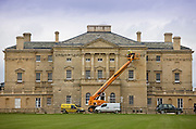 Hoist crane used to repair traditional luxury Buckland manor house in Oxfordshire, United Kingdom