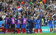 France Forward Olivier Giroud and France players and France Manager Didier Deschamps celebrate goal 1-0 during the Group A Euro 2016 match between France and Romania at the Stade de France, Saint-Denis, Paris, France on 10 June 2016. Photo by Phil Duncan.