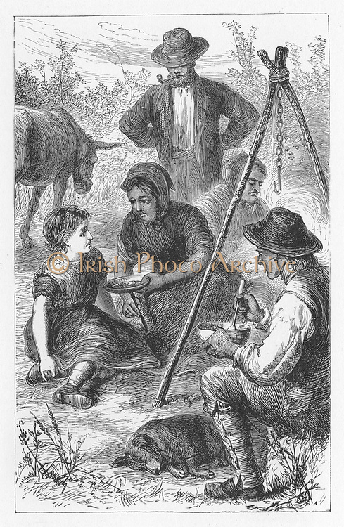Maggie Tulliver, having cut off her hair and run away from home, is offered a share of the gypsies' stew.  Illustration by Walter James Allen (active 1859-1891) for an undated 19th century edition of  'The Mill on the Floss'by George Eliot, originally published 1860.