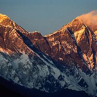 Sunset lights Mounts Everest & Lhotse in the Khumbu region of Nepal 1986.